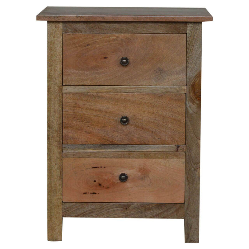 Handcrafted Bedside With 3 Drawers - HM_FURNITURE