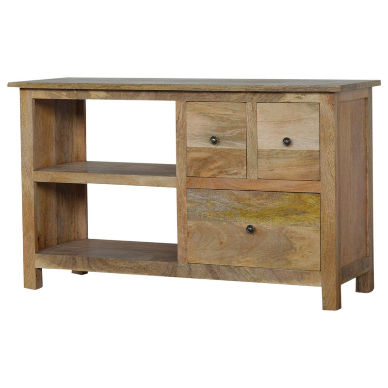Natural Oak-Ish Finish Media Unit With 3 Drawers and 2 Open Slots - HM_FURNITURE