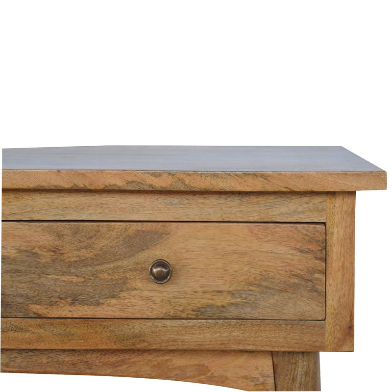 Handcrafted Natural Oak Finish Console Table With 3 Drawers - HM_FURNITURE