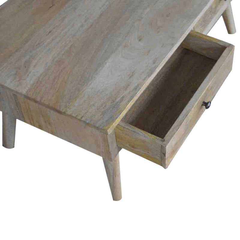 Handcrafted Solid Wood Coffee Table With 2 Drawers - HM_FURNITURE