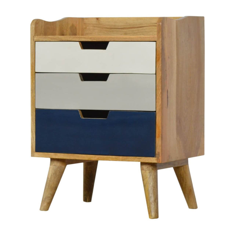 Handcrafted Bedside Table With 3 Tone Painted Drawers - HM_FURNITURE