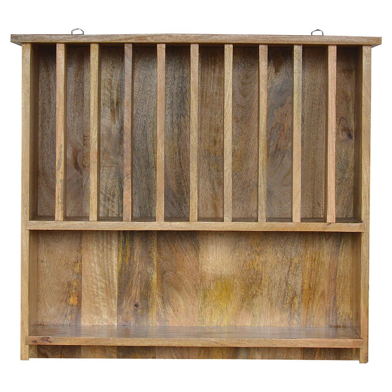 Mango Wood Wall Mounted Plate Rack With Shelf - HM_FURNITURE