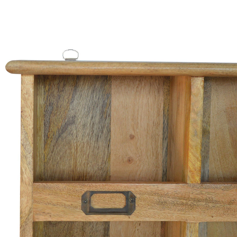 Mango Wood Wall Mounted Storage Unit With 9 Open Slots - HM_FURNITURE