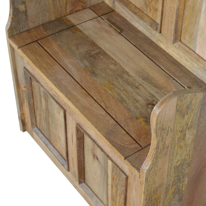 Small Mango Wood Storage Bench With 1 Compartment - HM_FURNITURE