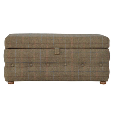 Handcrafted Multi Tweed Storage Footstool - HM_FURNITURE