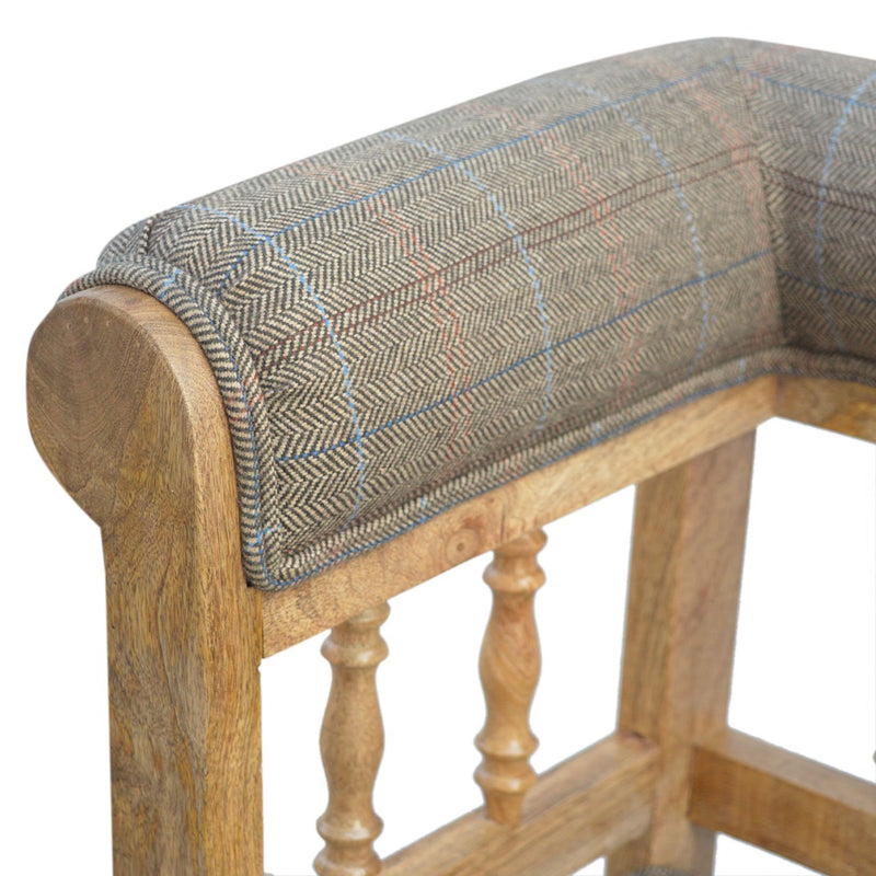 Solid Wood Upholstered Multi Tweed Hallway Bench - HM_FURNITURE