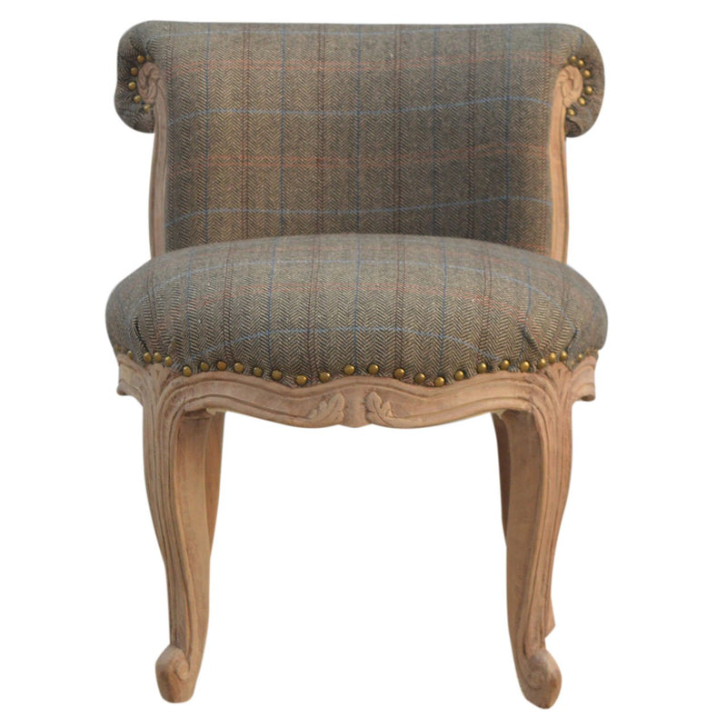 Handcrafted Multi Tweed Studded Chair - HM_FURNITURE