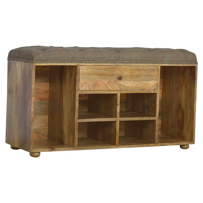 Shoe Storage Bench With 6 Open Slots and 1 Drawer - HM_FURNITURE
