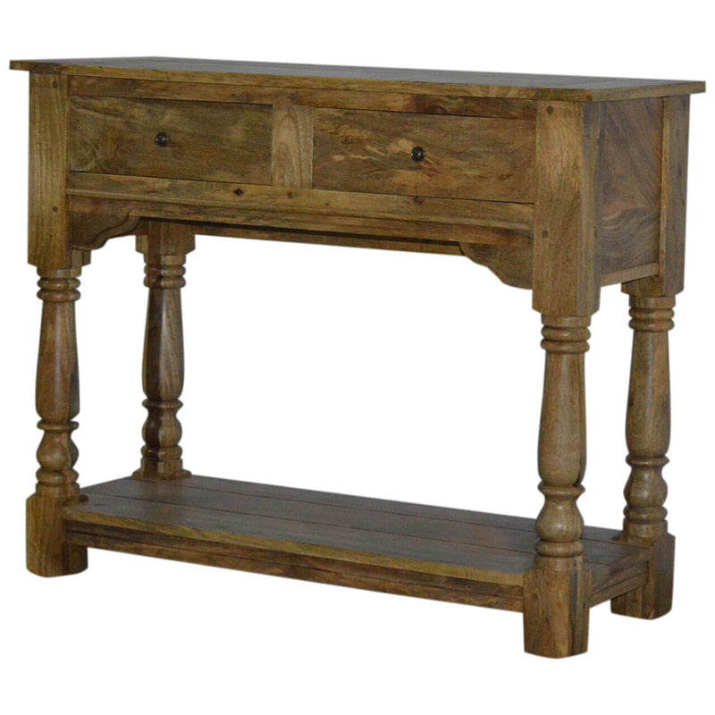 Handcrafted Solid Wood Console Table With 2 Drawers - HM_FURNITURE