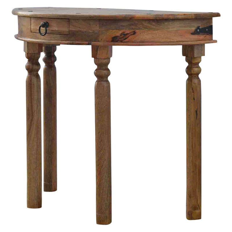 Handcrafted Serpentine Console Table With Turned Legs - HM_FURNITURE