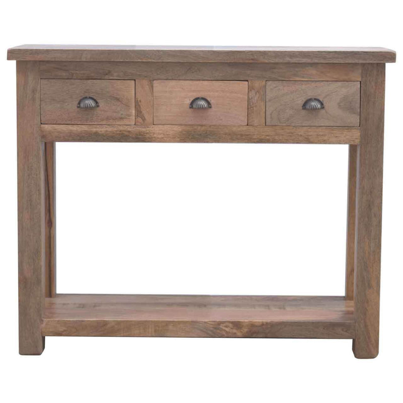 Handcrafted Solid Wood Console Table With 3 Drawers - HM_FURNITURE