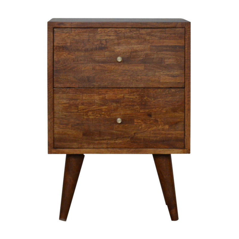 Chestnut 2 Drawer Assorted Bedside