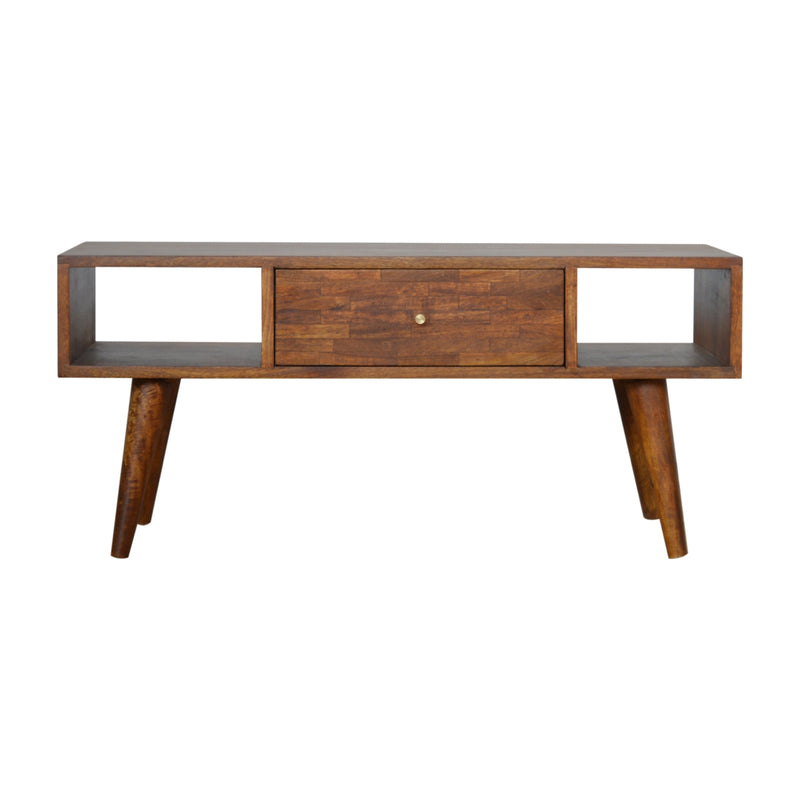 Chestnut Patchwork 1 Drawer Coffee Table