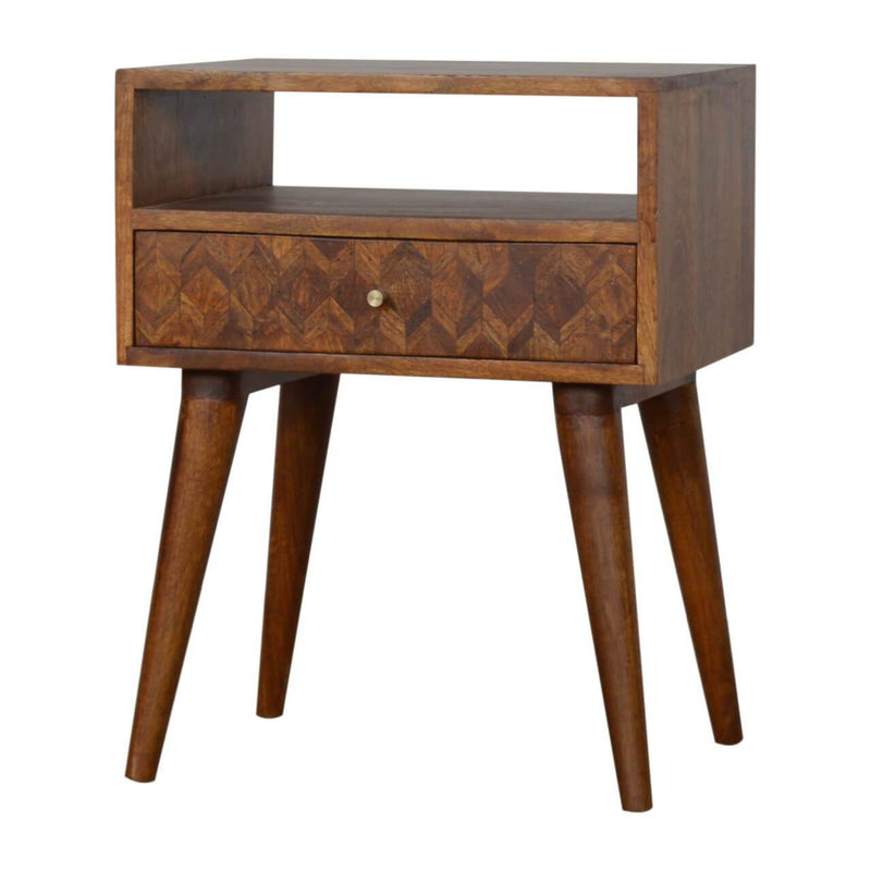 Handcrafted Assorted Bedside Table With 1 Drawer and Open Slot - HM_FURNITURE
