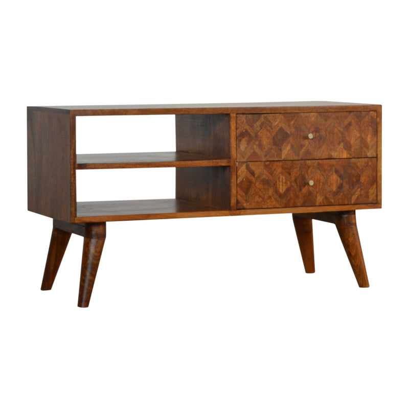 Assorted 2 Drawers 2 Shelves Media Unit, Chestnut