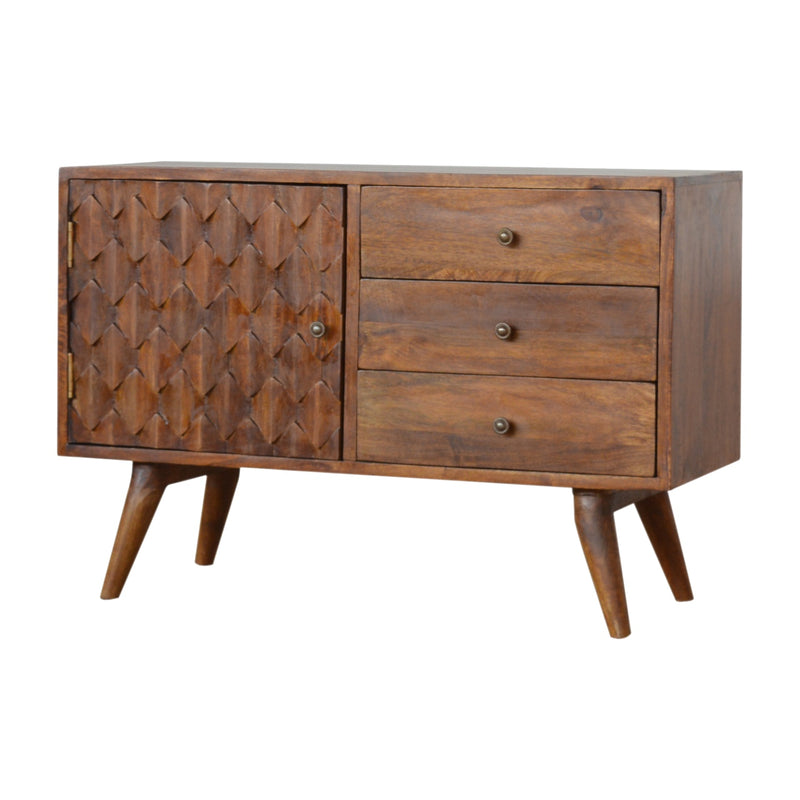 Pineapple Carved 1 Door 3 Drawers Sideboard, Chestnut