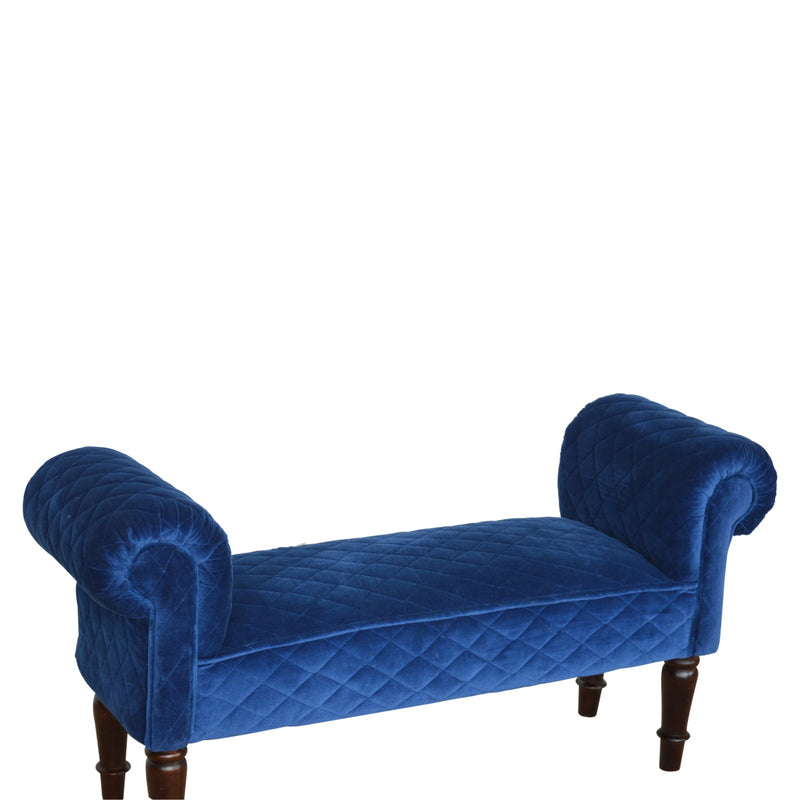 Blue Quilted Upholstered Velvet Bench