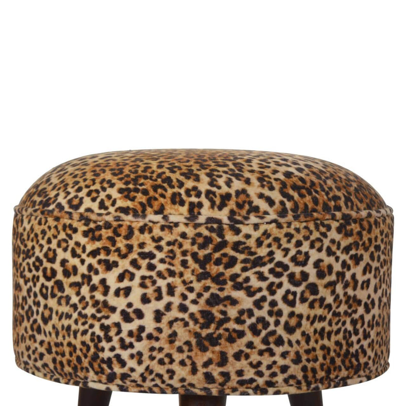 Handcrafted Leopard Printed Velvet Foot Stool - HM_FURNITURE