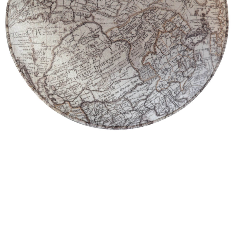 Handcrafted Map Printed Velvet Foot Stool - HM_FURNITURE