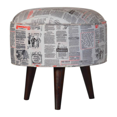 Handcrafted Newspaper Print Velvet Foot Stool - HM_FURNITURE