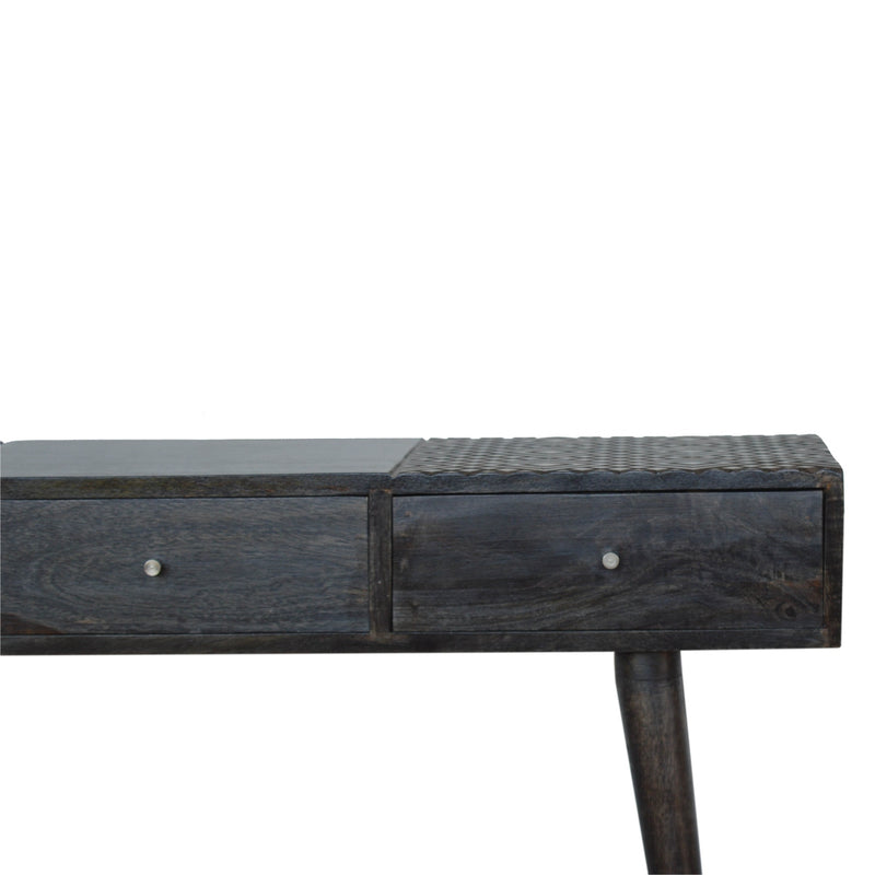 Handcrafted Ash Black Finish Console Table