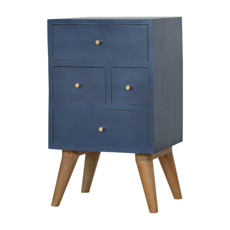 Dark Blue 4 Drawers Bedside