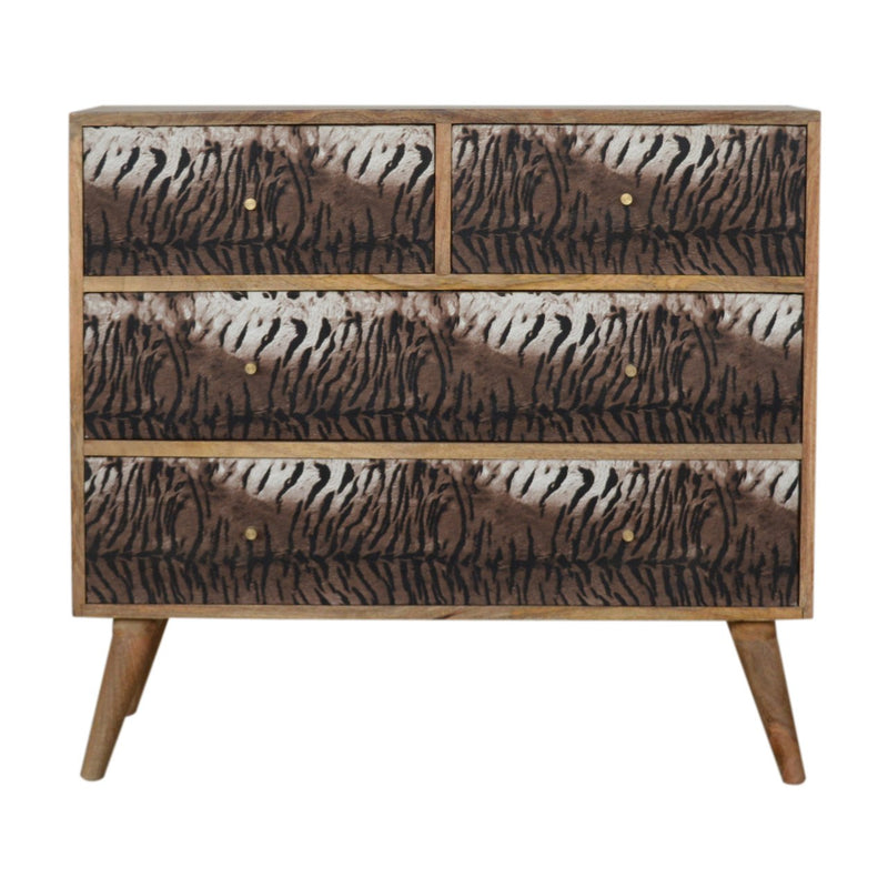 Handcrafted Tiger Print 6 Drawer Chest