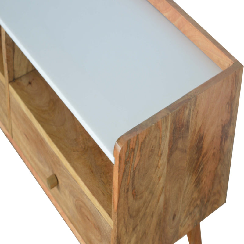 Marble Top 2 Shelves 2 Drawer Media Unit