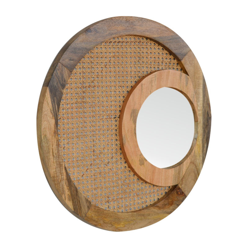 Handcrafted Solid Wood Rattan Mirror