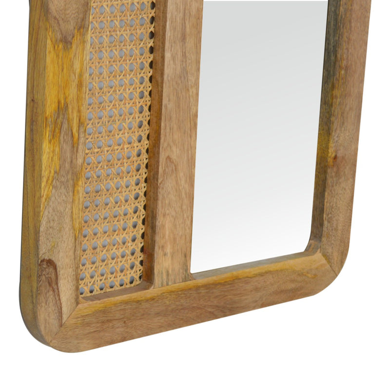 Handcrafted Solid Wood Large Rattan Mirror