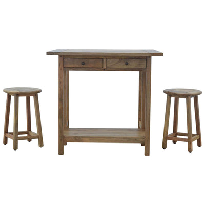 Handcrafted Breakfast Table Set With 2 Stools - HM_FURNITURE