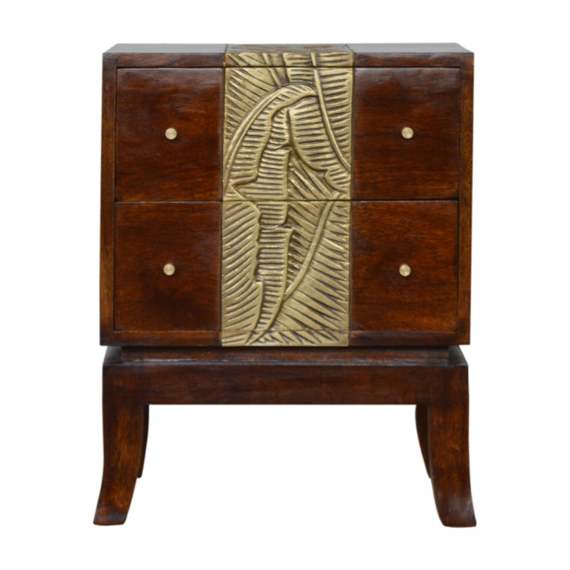 Heidi - 2 Drawer Bedside, Brass Plated