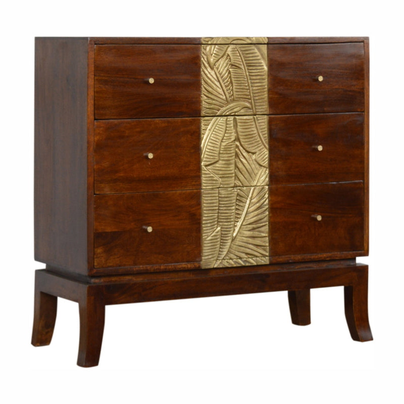 Handcrafted Brass Plated 3 Drawers Chest