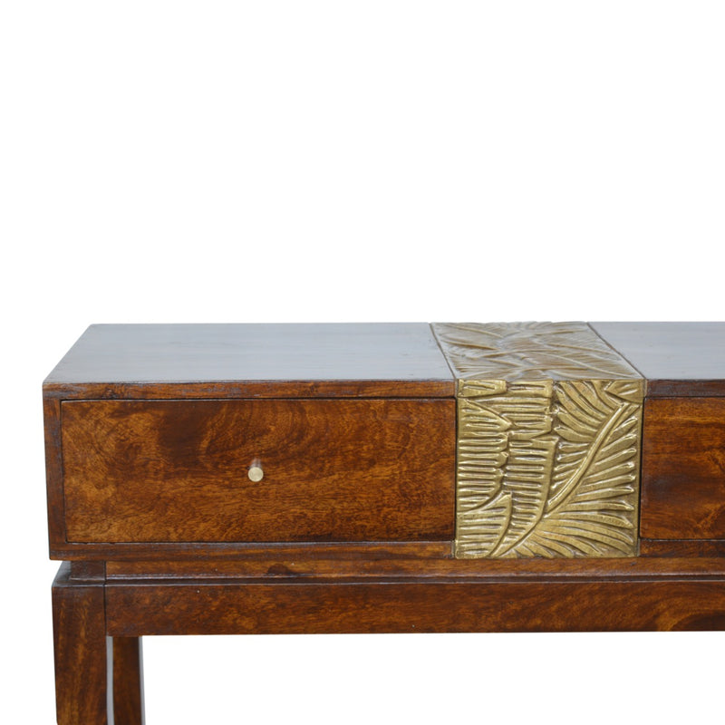 Handcrafted Brass Plated Console Table
