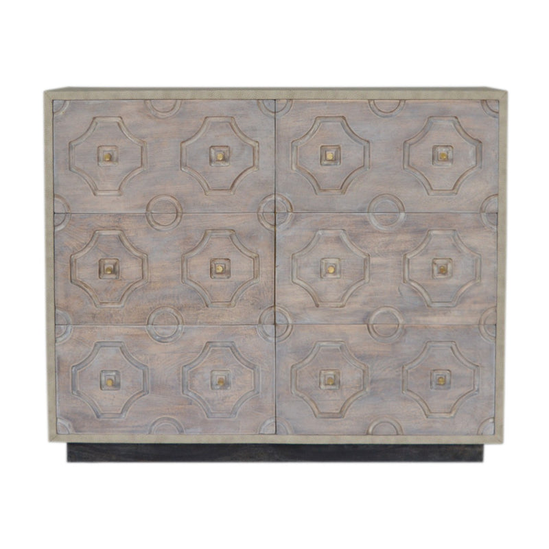 Acid Wash and Leatherette 6 Drawers Chest