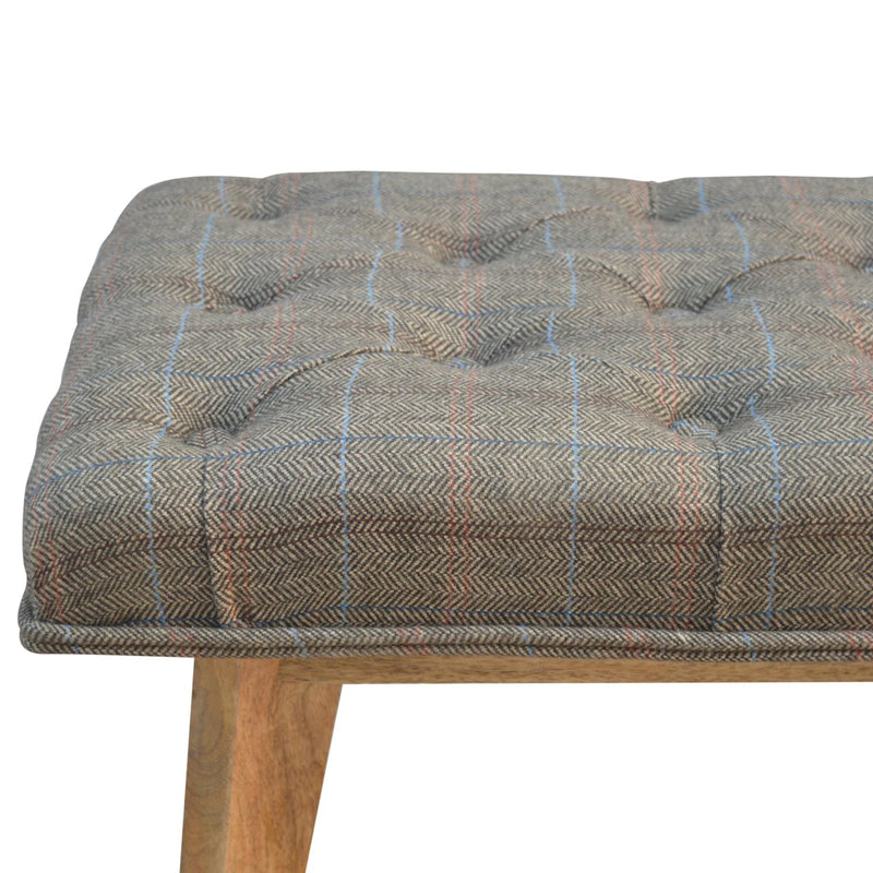 Handcrafted Multi Tweed Bedroom Bench - HM_FURNITURE