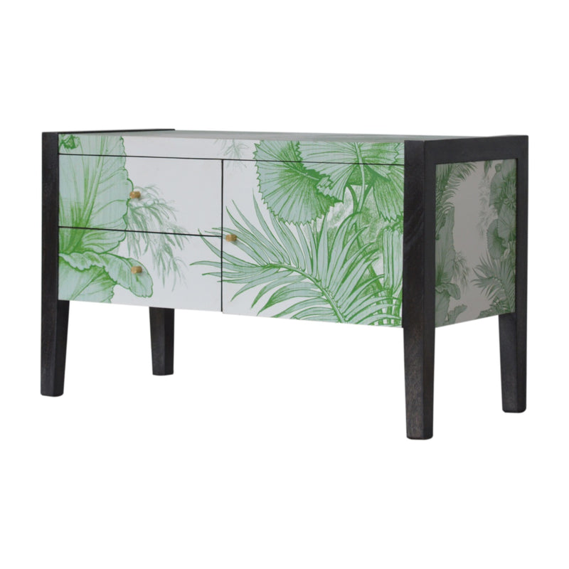 Green Leaf UV Printed 1 Door 2 Drawer Media Unit