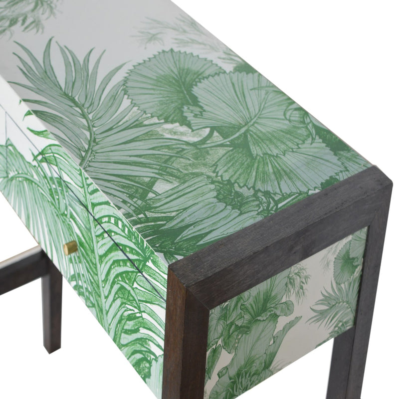 Green Leaf UV Printed 2 Drawer Console Table