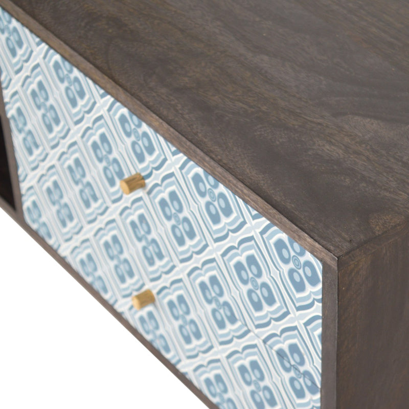 Handcrafted Blue Printed Design and Ash Black Media Unit