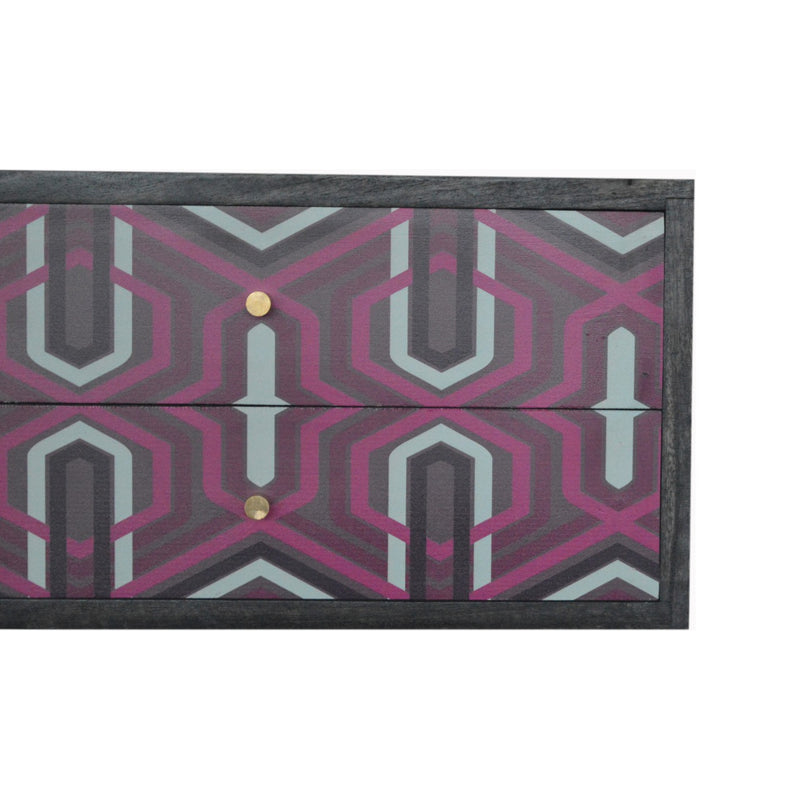 Handcrafted Pink Aztec Design Wall Mounted Bedside