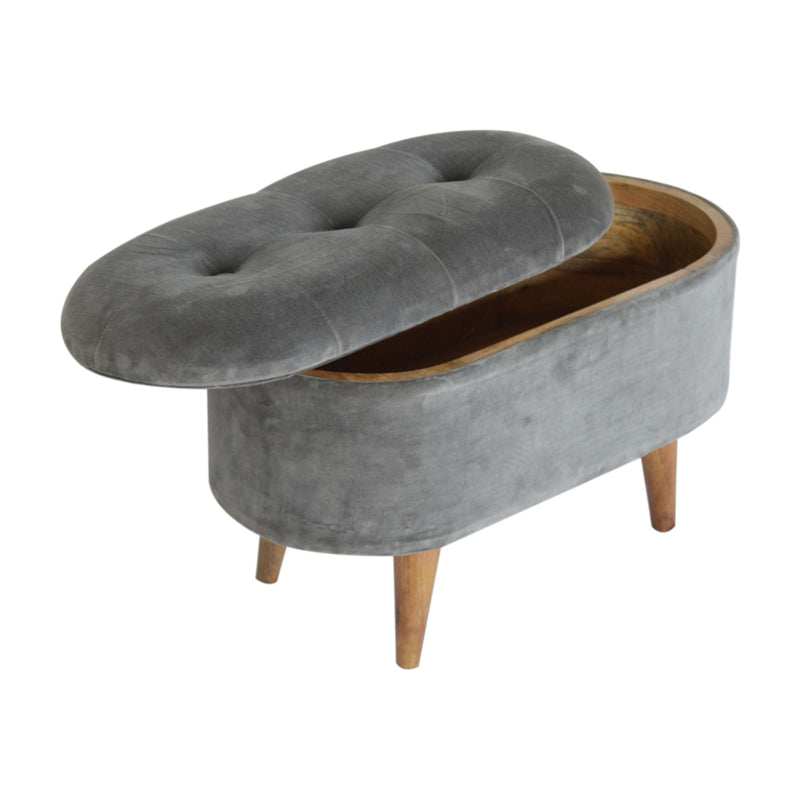 Lid-Up Grey Tweed Stool