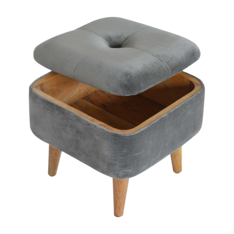 Handcrafted Square Lid Up Grey Tweed Stool