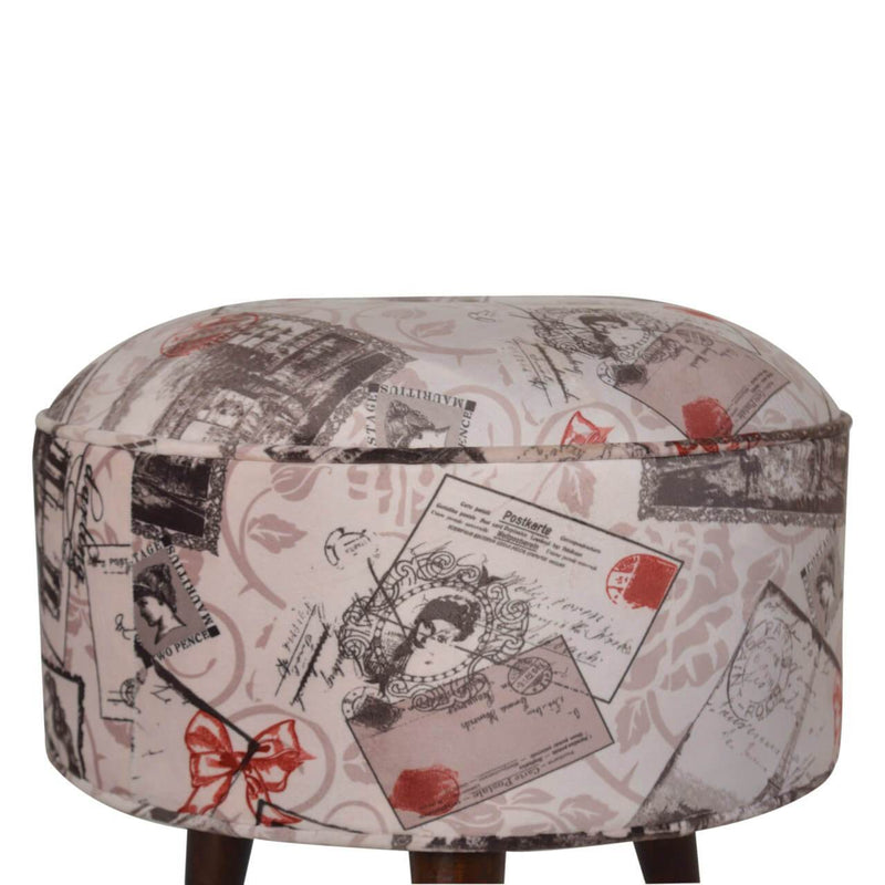 Handcrafted Postcard Printed Velvet Foot Stool - HM_FURNITURE