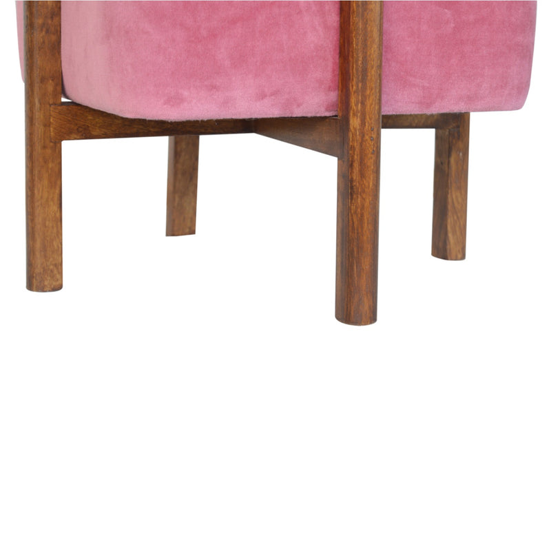 Handcrafted Solid Wood and Pink Velvet Stool