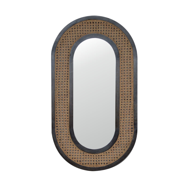 Anne - Rattan Mirror, Ash Black