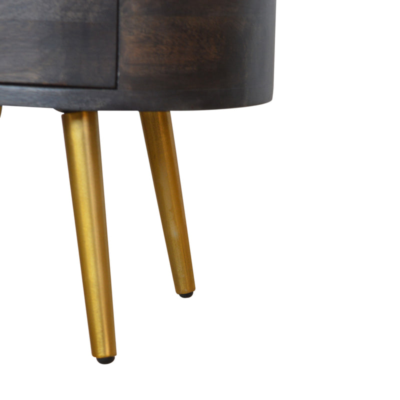 Anne - 2 Drawer Bedside - Ash Black & Brass