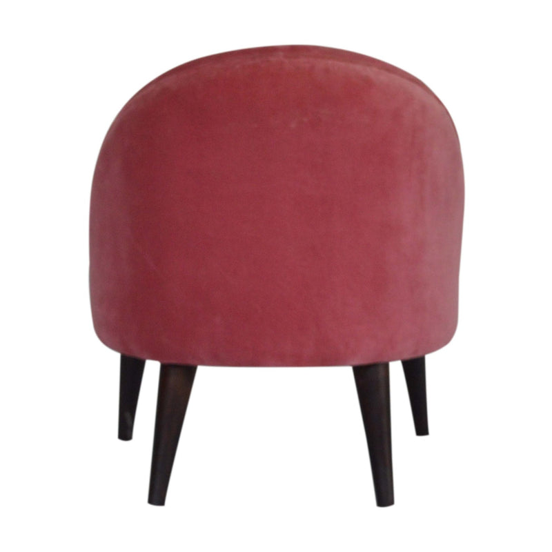 Pink Upholstered Velvet Deep Down Chair