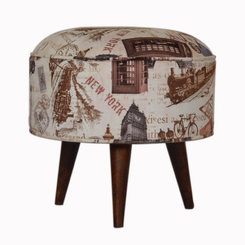 Handcrafted New York Print Velvet Foot Stool - HM_FURNITURE
