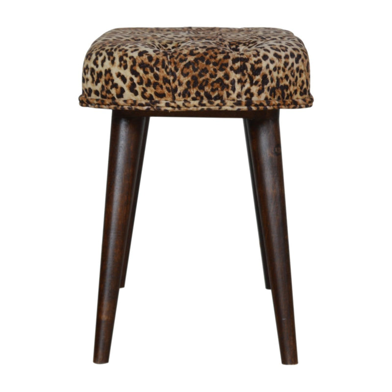 Handcrafted Leopard Print Deep Button Bench - HM_FURNITURE