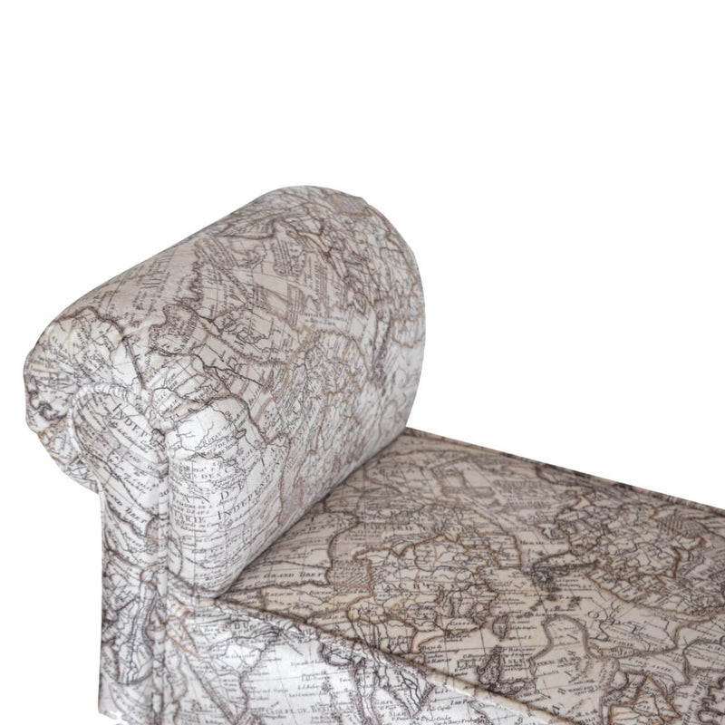 Handcrafted Map Printed Velvet Bench - HM_FURNITURE